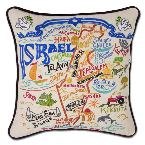 Catstudio Israel Hand-Embroidered Pillow