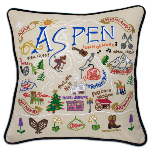 Catstudio Ski Aspen Hand-Embroidered Pillow