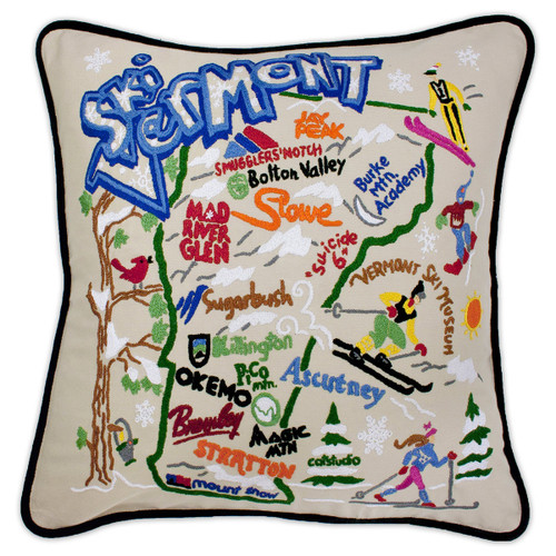 Catstudio Ski Vermont Hand-Embroidered Pillow