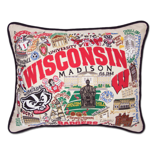 Catstudio Wisconsin University of Collegiate Embroidered Pillow