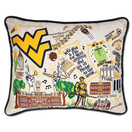 Catstudio West Virginia University Collegiate Embroidered Pillow