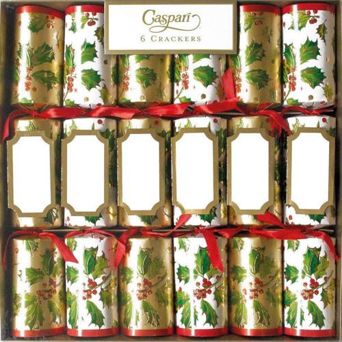 Caspari Gilded Holly Christmas Crackers