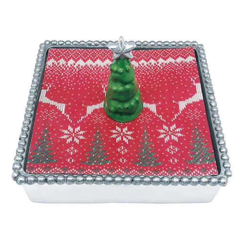 Mariposa 3D Green Tree Beaded Napkin Box