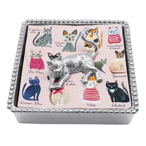 Mariposa Cat Beaded Napkin Box