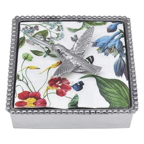 Mariposa Hummingbird Beaded Napkin Box