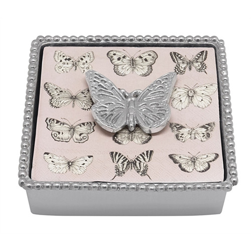 Mariposa Monarch Butterfly Beaded Napkin Box