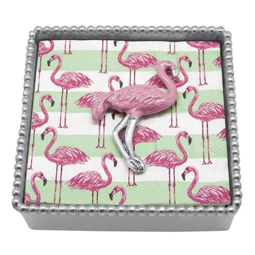 Mariposa Pink Flamingo Beaded Napkin Box