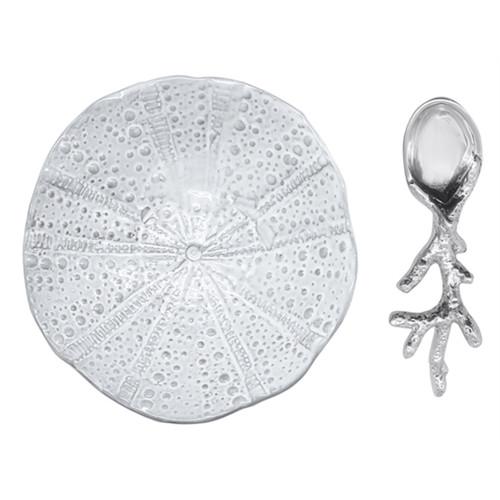 Mariposa Sea Urchin Ceramic Canape Plate With Coral Spoon