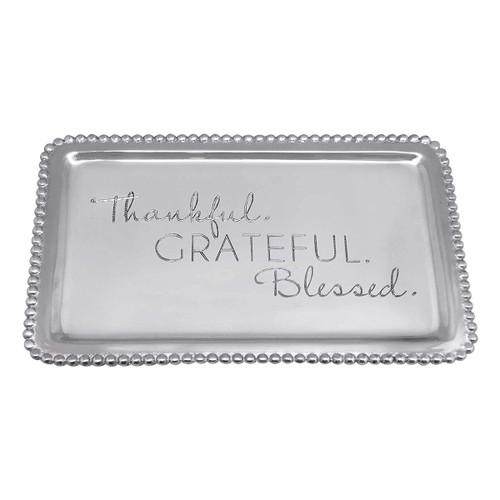 Mariposa Thankful Grateful Blessed Beaded Buffet Tray