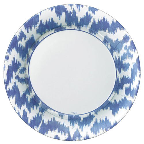 Caspari Modern Moire Blue Dinner Plates - 8 Per Package