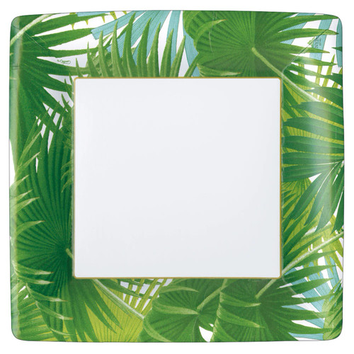 Caspari Palm Fronds White Square Dinner Plates - 8 Per Package