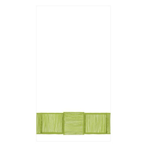Caspari Ribbon Border Green Guest Towel - 15 Per Package