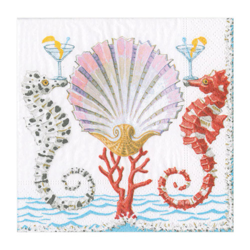 Caspari Seahorses and Shell Cocktail Napkin - 20 Per Package