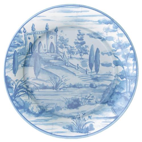 Caspari Tuscan Toile Blue Dinner Plates - 8 Per Package