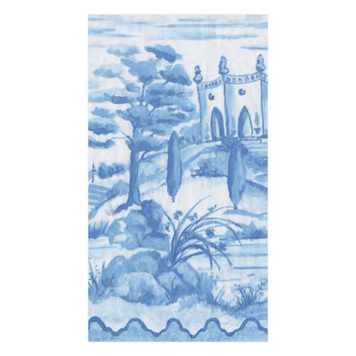Caspari Tuscan Toile Blue Guest Towel - 15 Per Package