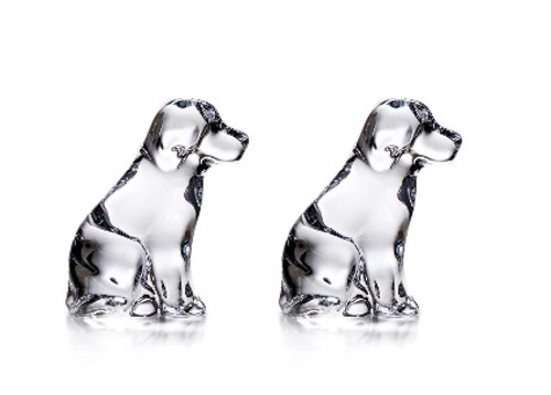 Simon Pearce Glass Puppy Set of 2 in Gift box- Limited Edition