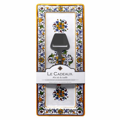 Le Cadeaux Capri Rectangle Serving Platter with Cheese Utensil Gift Set