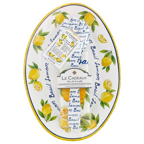 Le Cadeaux Lemon Basil Oval Serving Platter with Servers and Matching Tea Towel Gift Set