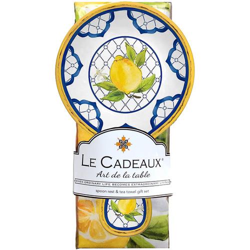 Le Cadeaux Lemon Basil Spoon Rest with Matching Tea Towel Gift Set