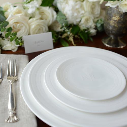 """Caskata Cambridge Stripe White 10.75"""" Rimmed Dinner"""