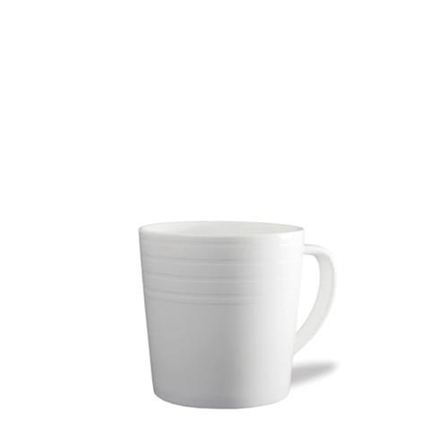 Caskata Cambridge Stripe White 14 oz Wide Mug