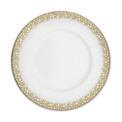 "Caskata Ellington Shimmer Gold and Platinum 10.75"" Rimmed Simple Dinner"