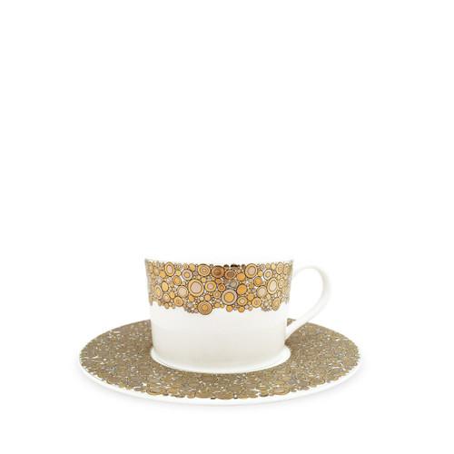 Caskata Ellington Shimmer Gold and Platinum Can Cup & Saucer
