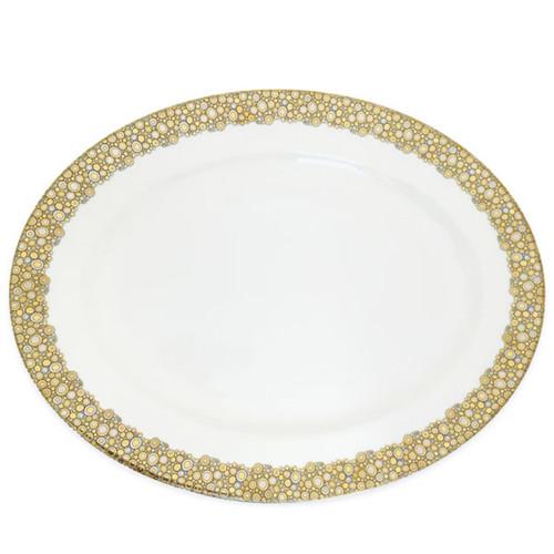 Caskata Ellington Shimmer Gold and Platinum Rimmed Oval Platter