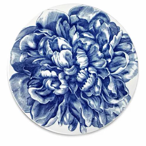 "Caskata Peony Blue Large Bloom 12.25"" Cake Pedestal"