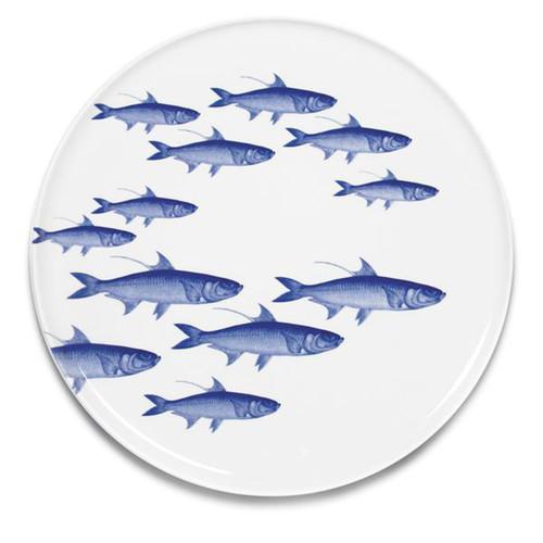 """Caskata School of Fish Blue 12.25"""" Platter"""