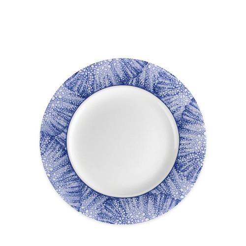 "Caskata Sea Fan Blue 8.5"" Rimmed Salad Plate Single"