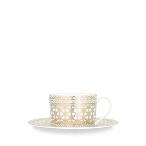 Caskata Hawthorne Gilt Gold Wide Cup (Handled) & Saucer