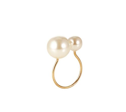 Kim Seybert Pearl Gold/Ivory Napkin Ring, Set of 4