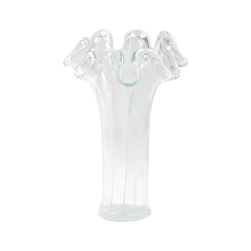 Vietri Onda Glass Clear with White Lines Vase
