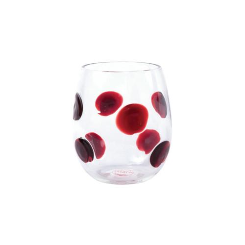Vietri Drop Red Stemless Wine Glass