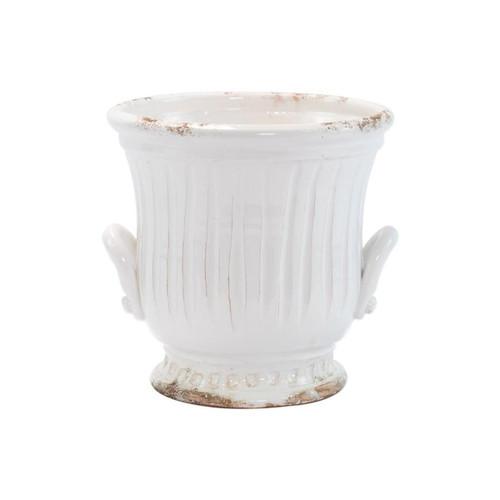 Vietri Rustic Garden White Medium Handled Cachepot
