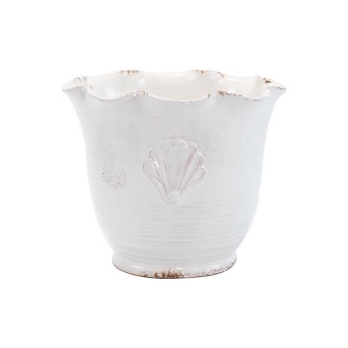 Vietri Rustic Garden White Small Scallop Planter w/ Emblem