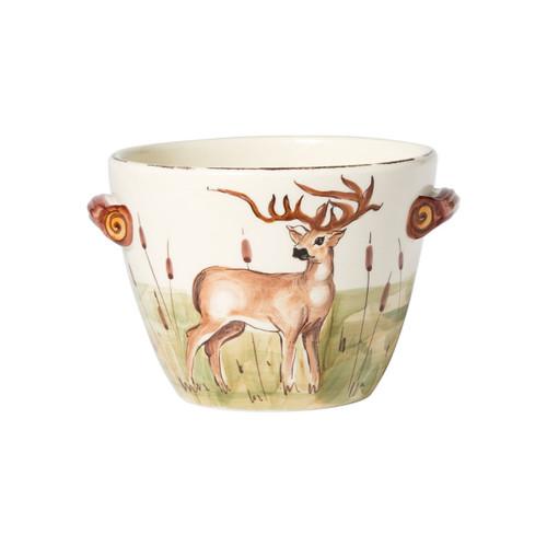 Vietri Wildlife Deer Handled Deep Serving Bowl
