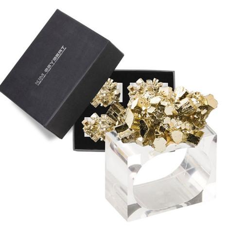 Kim Seybert Geode Gold Napkin Ring - Set of 4