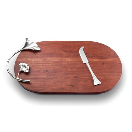 Mary Jurek Ginkgo Wood Oval Tray with Knife