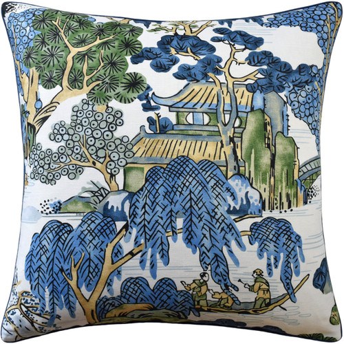 "Ryan Studio 22"" x 22"" Asian Scenic Decorative Pillow"