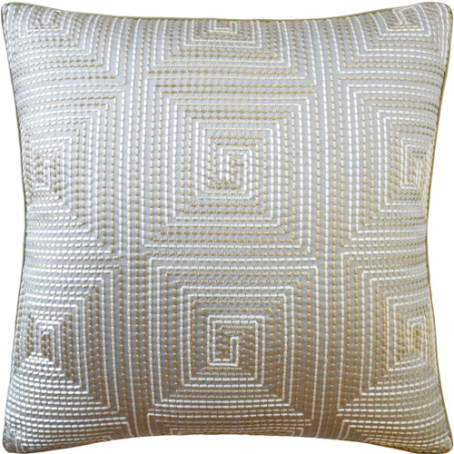 Ryan Studio Edge Stitch Decorative Pillow, Platinum