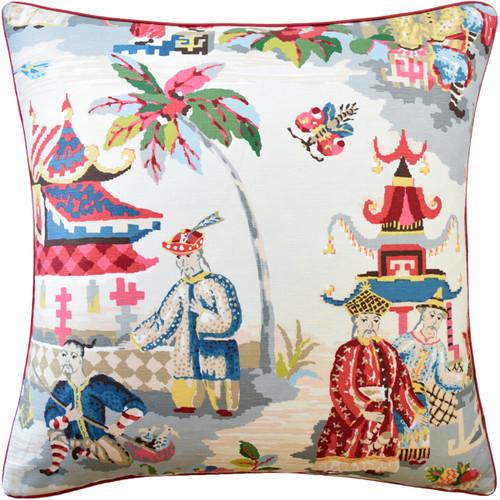"""Ryan Studio 22"""" x 22"""" Xian Linen Decorative Pillow, Prussian/Red"""