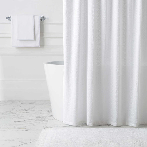 Pine Cone Hill Diamond Eyelet White Shower Curtain