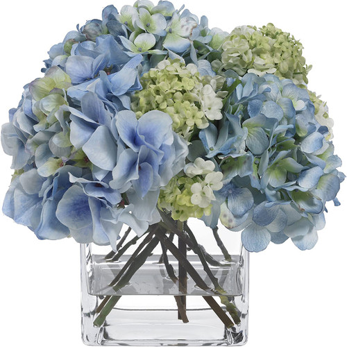 Diane James Blooms Blue Hydrangea And Snowball Bouquet In Glass Cube
