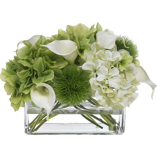 Diane James Blooms Hydrangea And Calla Lily Bouquet In Glass Rectangle