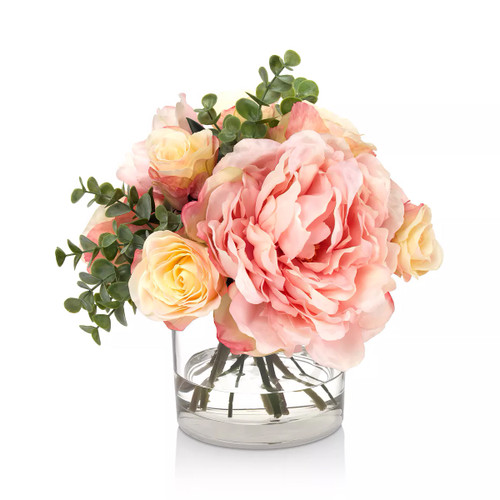 Diane James Blooms Mixed Peony And Rose Bouquet In Glass Cylinder
