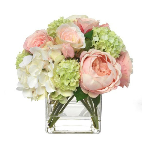 Diane James Blooms Pale Pink Hydrangea And Rose Bouquet In Glass Cube
