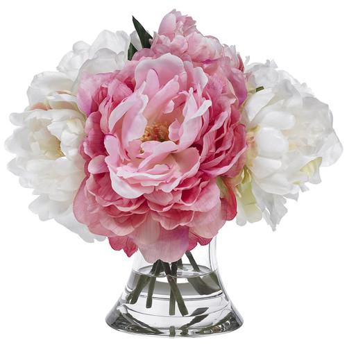 Diane James Blooms Pink And White Peonies In Cinched Vase