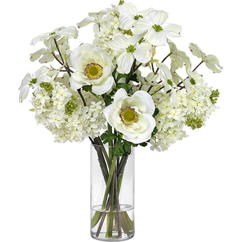 Diane James Blooms White Dogwood And Anemones In Glass Cylinder